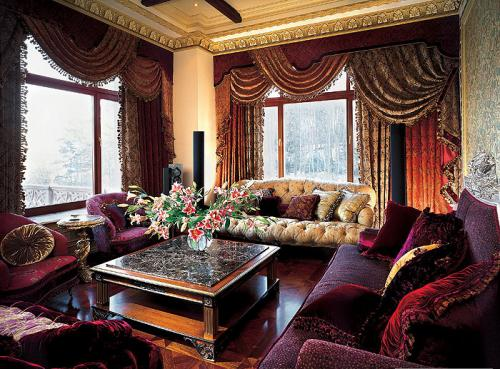 бархат в интерьере стиля барокко