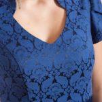платье из жаккарда синего