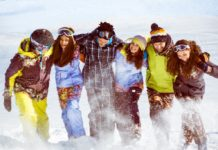 молодежь в зимней одежде