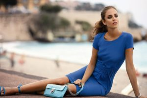 летняя ткань синее платье