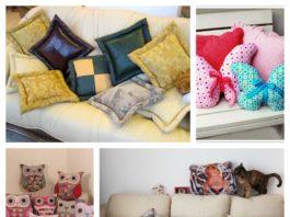 подушки разных цветов и фасонов