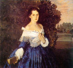 девушка со старинной картины в муаровом платье