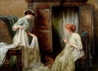 дамы 19 века за шитьем