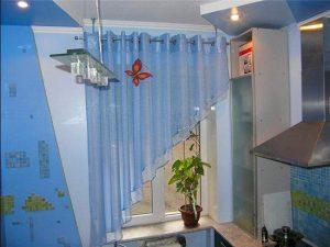 шторы голубые для кухни